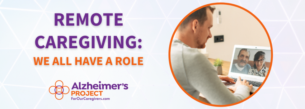 Remote Caregiving: We All Have a Role | Alzheimer's Project | Picture of a man talking to his parents on the computer